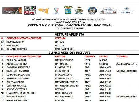 Elenco Iscritti Provvisorio 4°Autoslalom Sant'Angelo Muxaro.